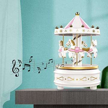 Karussell Uhrwerk Spieluhr Bunte LED Merry-go-Round Spieluhr Geschenk- Leicht drehbar Weiß - Pferde Klassik Dekor, Melodie von Beethoven. Mit dem Musiklicht Einschlafen Oder den Kuchen Dekorieren. - 2