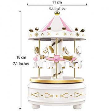 Karussell Uhrwerk Spieluhr Bunte LED Merry-go-Round Spieluhr Geschenk- Leicht drehbar Weiß - Pferde Klassik Dekor, Melodie von Beethoven. Mit dem Musiklicht Einschlafen Oder den Kuchen Dekorieren. - 4