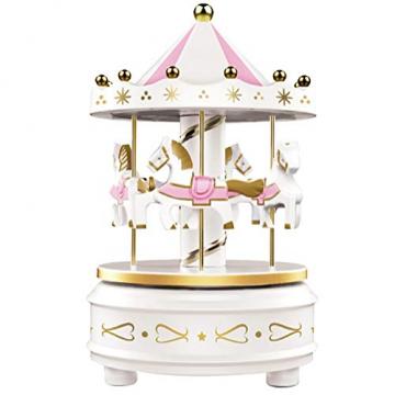 Karussell Uhrwerk Spieluhr Bunte LED Merry-go-Round Spieluhr Geschenk- Leicht drehbar Weiß - Pferde Klassik Dekor, Melodie von Beethoven. Mit dem Musiklicht Einschlafen Oder den Kuchen Dekorieren. - 1