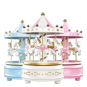 Karussell Uhrwerk Spieluhr Bunte LED Merry-go-Round Spieluhr Geschenk- Leicht drehbar Weiß - Pferde Klassik Dekor, Melodie von Beethoven. Mit dem Musiklicht Einschlafen Oder den Kuchen Dekorieren. - 5