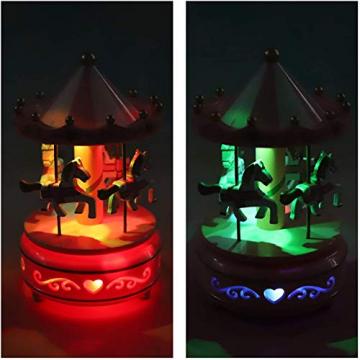 Karussell Uhrwerk Spieluhr Bunte LED Merry-go-Round Spieluhr Geschenk- Leicht drehbar Weiß - Pferde Klassik Dekor, Melodie von Beethoven. Mit dem Musiklicht Einschlafen Oder den Kuchen Dekorieren. - 6