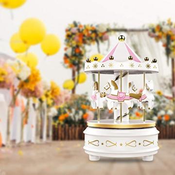 Karussell Uhrwerk Spieluhr Bunte LED Merry-go-Round Spieluhr Geschenk- Leicht drehbar Weiß - Pferde Klassik Dekor, Melodie von Beethoven. Mit dem Musiklicht Einschlafen Oder den Kuchen Dekorieren. - 8