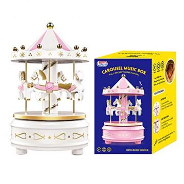 Karussell Uhrwerk Spieluhr Bunte LED Merry-go-Round Spieluhr Geschenk- Leicht drehbar Weiß - Pferde Klassik Dekor, Melodie von Beethoven. Mit dem Musiklicht Einschlafen Oder den Kuchen Dekorieren. - 9