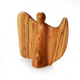 KASSIS Olivenholz Engel Schutzengel Glücksbringer Krippenfigur handgemacht in Bethlehem 11 cm - 1