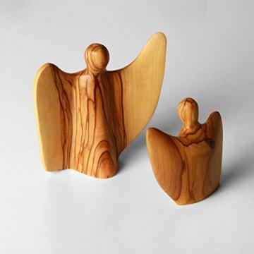 KASSIS Olivenholz Engel Schutzengel Glücksbringer Krippenfigur handgemacht in Bethlehem 8 cm - 2