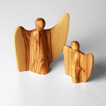 KASSIS Olivenholz Engel Schutzengel Glücksbringer Krippenfigur handgemacht in Bethlehem 8 cm - 3