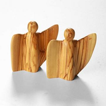 KASSIS Olivenholz Engel Schutzengel Glücksbringer Krippenfigur handgemacht in Bethlehem 8 cm - 4