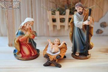 Krippenfiguren 12 er SET HANDBEMALT in edler Echtholz - Optik für Holz Weihnachtskrippe Zubehör, MIT HOLZ-BOX KFK-Box - saubere Gesichtszüge, feine Mimik, handbemalte Krippenfiguren, Zubehör - 3