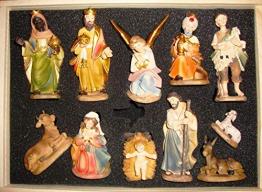 Krippenfiguren 12 er SET HANDBEMALT in edler Echtholz - Optik für Holz Weihnachtskrippe Zubehör, MIT HOLZ-BOX KFK-Box - saubere Gesichtszüge, feine Mimik, handbemalte Krippenfiguren, Zubehör - 1