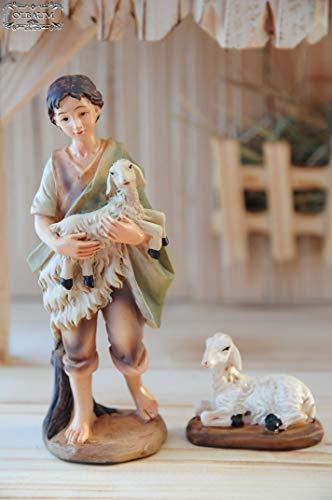 Krippenfiguren 12 er SET HANDBEMALT in edler Echtholz - Optik für Holz Weihnachtskrippe Zubehör, MIT HOLZ-BOX KFK-Box - saubere Gesichtszüge, feine Mimik, handbemalte Krippenfiguren, Zubehör - 5