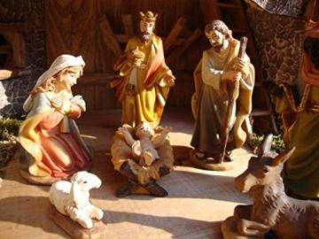Krippenfiguren 12 er SET HANDBEMALT in edler Echtholz - Optik für Holz Weihnachtskrippe Zubehör, MIT HOLZ-BOX KFK-Box - saubere Gesichtszüge, feine Mimik, handbemalte Krippenfiguren, Zubehör - 7