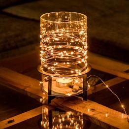 Kupferdraht 100er LED Lichterkette Batterie für innen und außen – 12 Meter Lichterkette mit Timer | IP44 wasserdicht | 100 LEDs warm-weiß | Kupfer Draht Lichterketten batteriebetrieben von CozyHome - 1