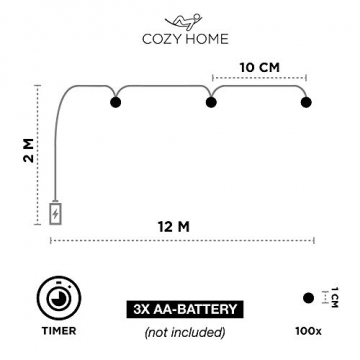 Kupferdraht 100er LED Lichterkette Batterie für innen und außen – 12 Meter Lichterkette mit Timer | IP44 wasserdicht | 100 LEDs warm-weiß | Kupfer Draht Lichterketten batteriebetrieben von CozyHome - 4