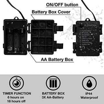 Kupferdraht 100er LED Lichterkette Batterie für innen und außen – 12 Meter Lichterkette mit Timer | IP44 wasserdicht | 100 LEDs warm-weiß | Kupfer Draht Lichterketten batteriebetrieben von CozyHome - 5