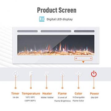 KUPPET 127 cm Elektrischer Kamin Versenkt und an der Wand Montiert mit Sicherheitsabschaltung & Digitaler LED-Anzeige, Touchscreen-Bedienbildschirm & Fernbedienung & Timer, Weißes Glas - 2