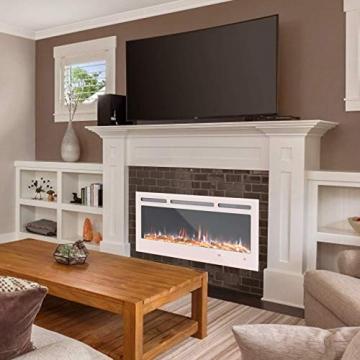 KUPPET 127 cm Elektrischer Kamin Versenkt und an der Wand Montiert mit Sicherheitsabschaltung & Digitaler LED-Anzeige, Touchscreen-Bedienbildschirm & Fernbedienung & Timer, Weißes Glas - 7