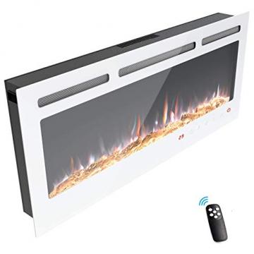 KUPPET 127 cm Elektrischer Kamin Versenkt und an der Wand Montiert mit Sicherheitsabschaltung & Digitaler LED-Anzeige, Touchscreen-Bedienbildschirm & Fernbedienung & Timer, Weißes Glas - 8