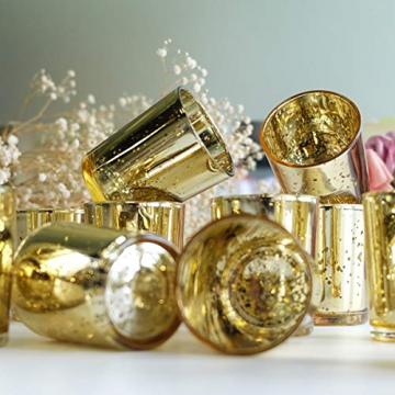 LA BELLEFÉE Kerzenhalter Kerzenständer Kandelaber Leuchter Romantische Kerzen, Kerzenständer für Hochzeit, Weihnachten und Geschenk, 12er Set - Gold - 5