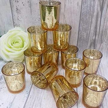 LA BELLEFÉE Kerzenhalter Kerzenständer Kandelaber Leuchter Romantische Kerzen, Kerzenständer für Hochzeit, Weihnachten und Geschenk, 12er Set - Gold - 9
