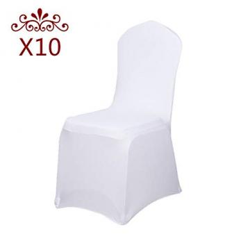 LARS360 Weiß Stuhl Husse Schleifenband Stuhlbezüge Stuhlhussen Stretch Acelectronic Stuhlüberzug Moderne Stuhl Abdeckung für Hochzeiten und Feiern (10 Stück Stuhlhussen) - 2