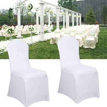 LARS360 Weiß Stuhl Husse Schleifenband Stuhlbezüge Stuhlhussen Stretch Acelectronic Stuhlüberzug Moderne Stuhl Abdeckung für Hochzeiten und Feiern (10 Stück Stuhlhussen) - 3