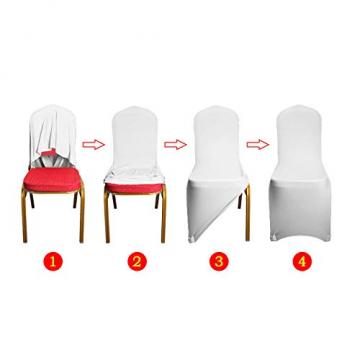 LARS360 Weiß Stuhl Husse Schleifenband Stuhlbezüge Stuhlhussen Stretch Acelectronic Stuhlüberzug Moderne Stuhl Abdeckung für Hochzeiten und Feiern (10 Stück Stuhlhussen) - 4