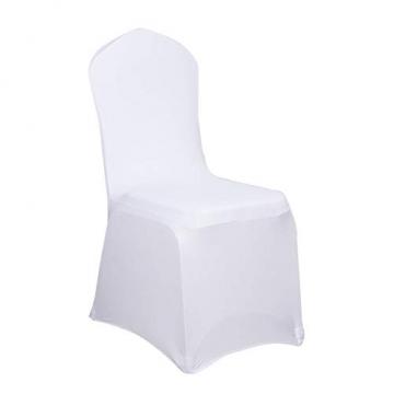 LARS360 Weiß Stuhl Husse Schleifenband Stuhlbezüge Stuhlhussen Stretch Acelectronic Stuhlüberzug Moderne Stuhl Abdeckung für Hochzeiten und Feiern (10 Stück Stuhlhussen) - 1