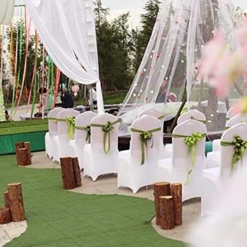 LARS360 Weiß Stuhl Husse Schleifenband Stuhlbezüge Stuhlhussen Stretch Acelectronic Stuhlüberzug Moderne Stuhl Abdeckung für Hochzeiten und Feiern (10 Stück Stuhlhussen) - 5