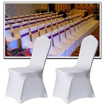 LARS360 Weiß Stuhl Husse Schleifenband Stuhlbezüge Stuhlhussen Stretch Acelectronic Stuhlüberzug Moderne Stuhl Abdeckung für Hochzeiten und Feiern (10 Stück Stuhlhussen) - 6
