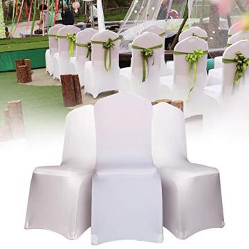 LARS360 Weiß Stuhl Husse Schleifenband Stuhlbezüge Stuhlhussen Stretch Acelectronic Stuhlüberzug Moderne Stuhl Abdeckung für Hochzeiten und Feiern (10 Stück Stuhlhussen) - 7