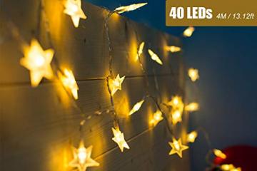 LED Lichterkette 4M/13.2ft Weihnachtsdeko 40er Warmweiß Sternen Lichterkette, Weihnachten Innen Deko 4.5v Lichterkette Batterie,Lichterkette Weihnachtsbaum,Lichterketten für Zimme,MEHRWEG - 3
