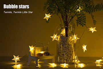 LED Lichterkette 4M/13.2ft Weihnachtsdeko 40er Warmweiß Sternen Lichterkette, Weihnachten Innen Deko 4.5v Lichterkette Batterie,Lichterkette Weihnachtsbaum,Lichterketten für Zimme,MEHRWEG - 7