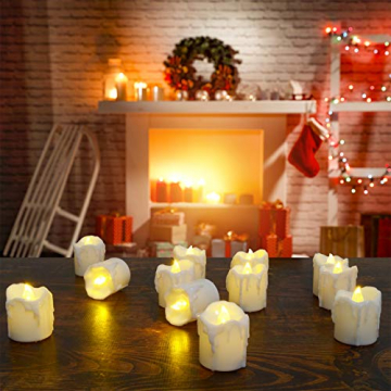 LED Teelichter, PChero 12 Stück LED Strom Kerzen Flammenlose Flackernde Kerzenlichter mit Timerfunktion Beleuchtung für Weihnachten Neujahr Feste Hause Zimmer Tisch Garten Deko [1,7 Zoll Hohe Version] - 3