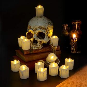 LED Teelichter, PChero 12 Stück LED Strom Kerzen Flammenlose Flackernde Kerzenlichter mit Timerfunktion Beleuchtung für Weihnachten Neujahr Feste Hause Zimmer Tisch Garten Deko [1,7 Zoll Hohe Version] - 4