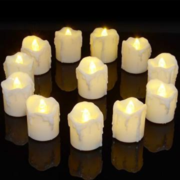 LED Teelichter, PChero 12 Stück LED Strom Kerzen Flammenlose Flackernde Kerzenlichter mit Timerfunktion Beleuchtung für Weihnachten Neujahr Feste Hause Zimmer Tisch Garten Deko [1,7 Zoll Hohe Version] - 1