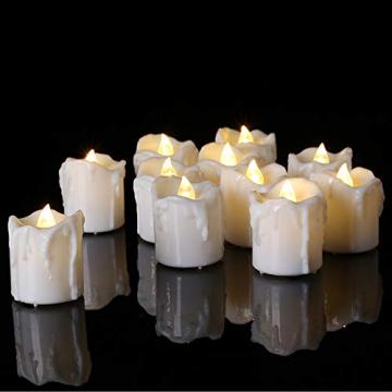 LED Teelichter, PChero 12 Stück LED Strom Kerzen Flammenlose Flackernde Kerzenlichter mit Timerfunktion Beleuchtung für Weihnachten Neujahr Feste Hause Zimmer Tisch Garten Deko [1,7 Zoll Hohe Version] - 6
