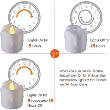 LED Teelichter, PChero 12 Stück LED Strom Kerzen Flammenlose Flackernde Kerzenlichter mit Timerfunktion Beleuchtung für Weihnachten Neujahr Feste Hause Zimmer Tisch Garten Deko [1,7 Zoll Hohe Version] - 7