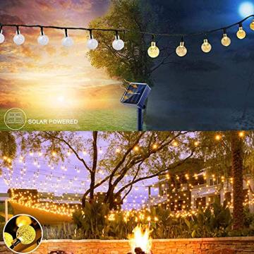 Lezonic Solar Lichterkette aussen, 50LED 23 ft 8 Modi Solar Kristallkugeln wasserdicht Außen/Innen Lichter Beleuchtung für Garten, Balkon, Bäume, Hochzeiten, Partys, Weihnachten (warmweiß) - 6