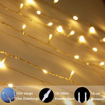 Lichterkette Strombetrieben, von myCozyLite®, 15m mit EU stecker, 100er Warmweiß LED für Innen und Außen Deko wie Weihnachten, Party, Garten, Hochzeit, Erweiterbar, mit 31V DC Transformator und Timer - 4