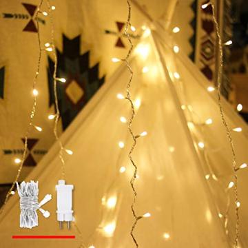 Lichterkette Strombetrieben, von myCozyLite®, 15m mit EU stecker, 100er Warmweiß LED für Innen und Außen Deko wie Weihnachten, Party, Garten, Hochzeit, Erweiterbar, mit 31V DC Transformator und Timer - 1