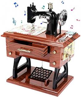 LINGSFIRE Vintage Spieluhr Nähmaschine Spieluhr, Geschenk für Ehefrau, Handkurbel Spieluhren Musikspieldose Geschenk Kreative Spieluhr für Liebe Frau, Weihnachten, Valentinstag, Jahrestag, Geschenk - 1