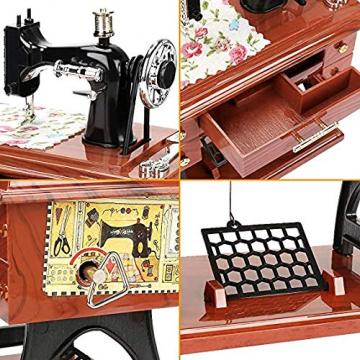 LINGSFIRE Vintage Spieluhr Nähmaschine Spieluhr, Geschenk für Ehefrau, Handkurbel Spieluhren Musikspieldose Geschenk Kreative Spieluhr für Liebe Frau, Weihnachten, Valentinstag, Jahrestag, Geschenk - 4