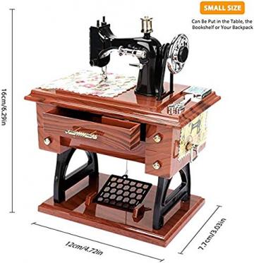 LINGSFIRE Vintage Spieluhr Nähmaschine Spieluhr, Geschenk für Ehefrau, Handkurbel Spieluhren Musikspieldose Geschenk Kreative Spieluhr für Liebe Frau, Weihnachten, Valentinstag, Jahrestag, Geschenk - 6
