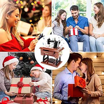 LINGSFIRE Vintage Spieluhr Nähmaschine Spieluhr, Geschenk für Ehefrau, Handkurbel Spieluhren Musikspieldose Geschenk Kreative Spieluhr für Liebe Frau, Weihnachten, Valentinstag, Jahrestag, Geschenk - 7
