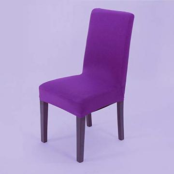 Littleprins Stuhlhussen 6er Set Stuhlbezug elastische Hussen für Stühle Schwingstühle Stretch Stuhlüberzug für Esszimmer Stuhl Hochzeit Partys Bankett (lila) - 2