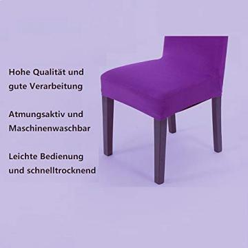Littleprins Stuhlhussen 6er Set Stuhlbezug elastische Hussen für Stühle Schwingstühle Stretch Stuhlüberzug für Esszimmer Stuhl Hochzeit Partys Bankett (lila) - 4