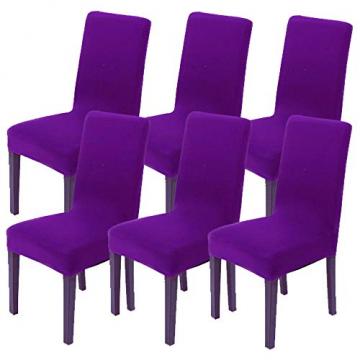 Littleprins Stuhlhussen 6er Set Stuhlbezug elastische Hussen für Stühle Schwingstühle Stretch Stuhlüberzug für Esszimmer Stuhl Hochzeit Partys Bankett (lila) - 1
