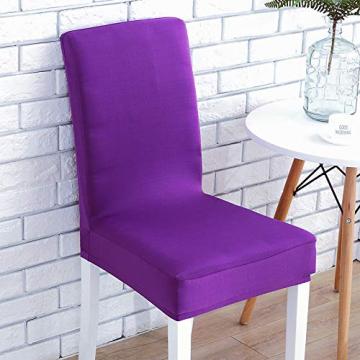 Littleprins Stuhlhussen 6er Set Stuhlbezug elastische Hussen für Stühle Schwingstühle Stretch Stuhlüberzug für Esszimmer Stuhl Hochzeit Partys Bankett (lila) - 6