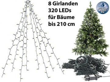 Lunartec Lichterkette Christbaum: Weihnachtsbaum-Überwurf-Lichterkette mit 8 Girlanden & 320 LEDs, IP44 (Weihnachtsbaumbeleuchtung) - 4