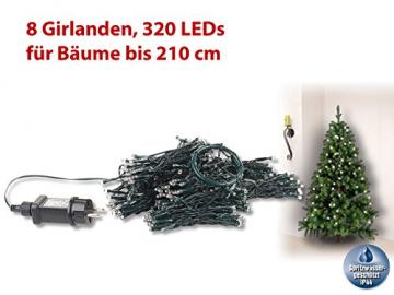Lunartec Lichterkette Christbaum: Weihnachtsbaum-Überwurf-Lichterkette mit 8 Girlanden & 320 LEDs, IP44 (Weihnachtsbaumbeleuchtung) - 5
